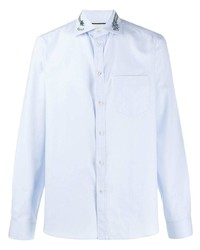Chemise à manches longues brodée bleu clair Gucci