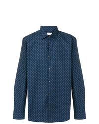 Chemise à manches longues brodée bleu marine Salvatore Ferragamo