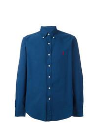 Chemise à manches longues brodée bleue Polo Ralph Lauren