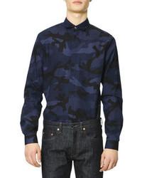 Chemise à manches longues camouflage bleu marine
