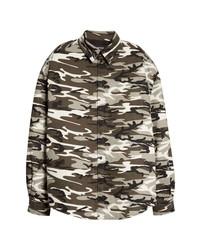 Chemise à manches longues camouflage marron foncé