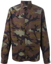 Chemise à manches longues camouflage marron