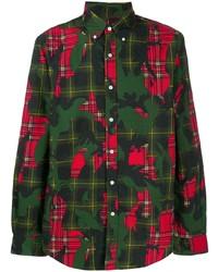 Chemise à manches longues camouflage multicolore