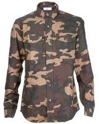 Chemise à manches longues camouflage olive Ami