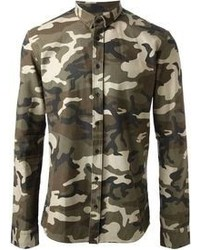 Chemise à manches longues camouflage olive Balmain