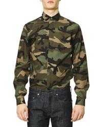 Chemise à manches longues camouflage vert foncé