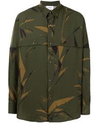 Chemise à manches longues camouflage vert foncé Salvatore Ferragamo