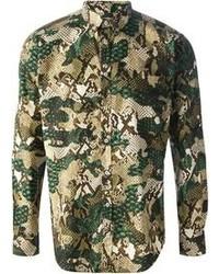 Chemise à manches longues camouflage verte