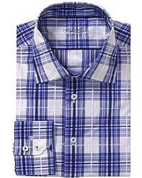 Chemise à manches longues écossaise blanc et bleu marine