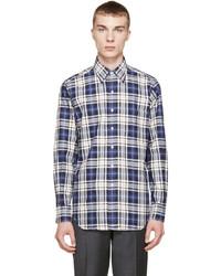 Chemise à manches longues écossaise blanc et bleu marine Thom Browne