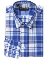 Chemise à manches longues écossaise blanc et bleu