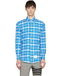 Chemise à manches longues écossaise blanc et bleu Thom Browne