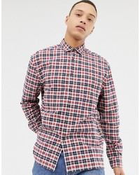 Chemise à manches longues écossaise blanc et rouge et bleu marine ASOS DESIGN