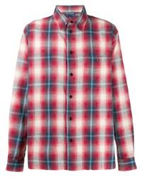 Chemise à manches longues écossaise blanc et rouge et bleu marine BornxRaised