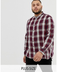 Chemise à manches longues écossaise blanc et rouge et bleu marine Burton Menswear