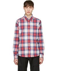 Chemise à manches longues écossaise blanc et rouge et bleu marine