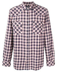 Chemise à manches longues écossaise blanc et rouge et bleu marine Diesel