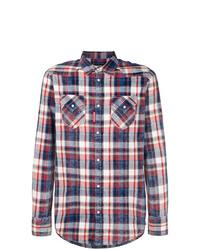 Chemise à manches longues écossaise blanc et rouge et bleu marine DSQUARED2