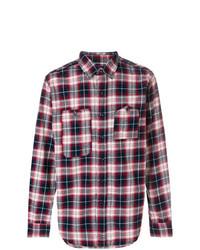 Chemise à manches longues écossaise blanc et rouge et bleu marine Engineered Garments