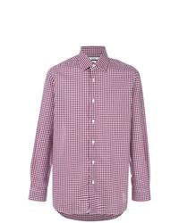 Chemise à manches longues écossaise blanc et rouge et bleu marine Fashion Clinic Timeless