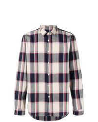 Chemise à manches longues écossaise blanc et rouge et bleu marine Folk