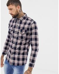 Chemise à manches longues écossaise blanc et rouge et bleu marine Good For Nothing