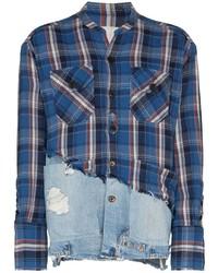 Chemise à manches longues écossaise blanc et rouge et bleu marine Greg Lauren