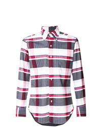 Chemise à manches longues écossaise blanc et rouge et bleu marine Thom Browne