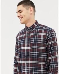 Chemise à manches longues écossaise blanc et rouge et bleu marine Tom Tailor
