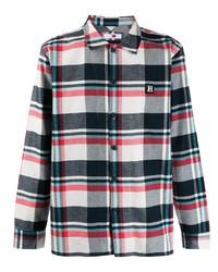 Chemise à manches longues écossaise blanc et rouge et bleu marine Tommy Hilfiger
