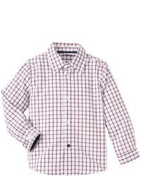 Chemise à manches longues écossaise blanc et rouge