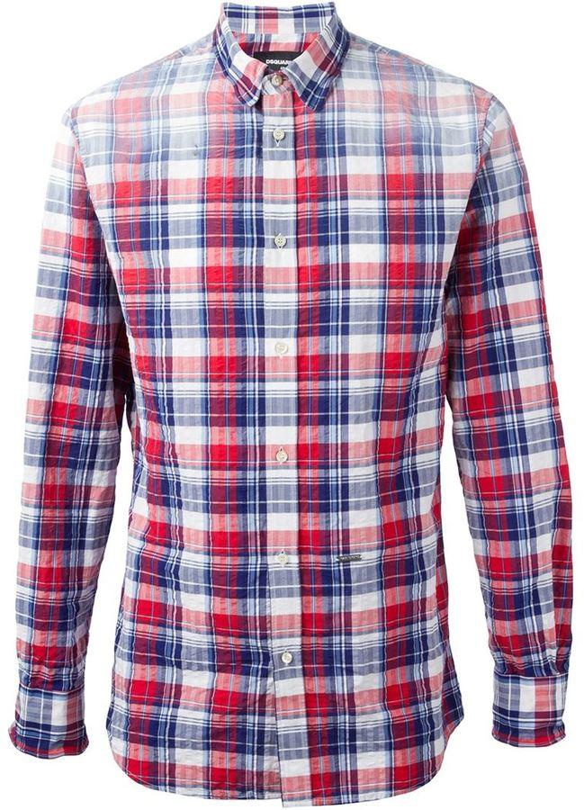 ... Chemise à manches longues écossaise blanche et rouge et bleue marine  DSQUARED2 7063b9d843b8