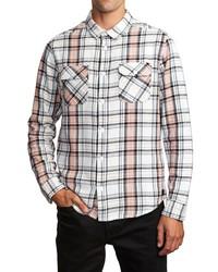 Chemise à manches longues écossaise blanche
