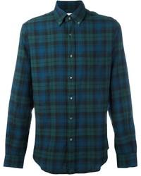 Chemise à manches longues écossaise bleu canard