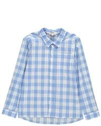 Chemise à manches longues écossaise bleu clair