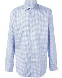 Chemise à manches longues écossaise bleu clair Etro