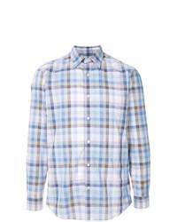 Chemise à manches longues écossaise bleu clair Gieves & Hawkes