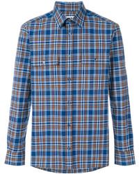 Chemise à manches longues écossaise bleu clair MSGM