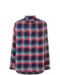 Chemise à manches longues écossaise bleu et rouge