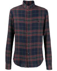 Chemise à manches longues écossaise bleu et rouge Emporio Armani