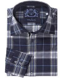 Chemise à manches longues écossaise bleu marine et blanc