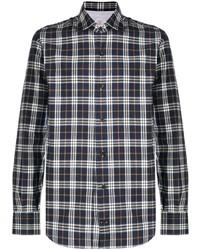 Chemise à manches longues écossaise bleu marine et blanc Eleventy
