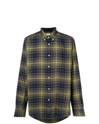 Chemise à manches longues écossaise bleu marine et vert Barbour