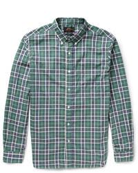 Chemise à manches longues écossaise bleu marine et vert Beams