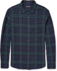 Chemise à manches longues écossaise bleu marine et vert
