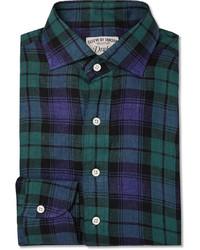 Chemise à manches longues écossaise bleu marine et vert Drakes