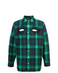 Chemise à manches longues écossaise bleu marine et vert Haculla