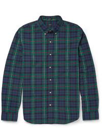 Chemise à manches longues écossaise bleu marine et vert J.Crew