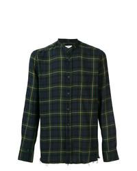 Chemise à manches longues écossaise bleu marine et vert Mauro Grifoni