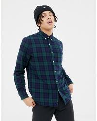 Chemise à manches longues écossaise bleu marine et vert Penfield